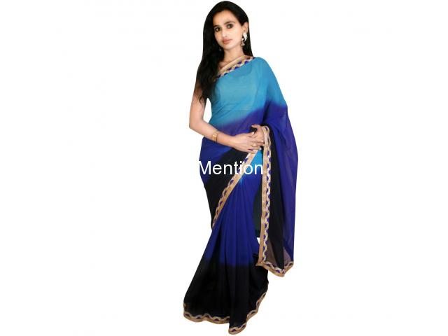 BLUE PADDING GEORGETTE SAREE WITH BLOUSE - 1/2