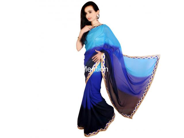 BLUE PADDING GEORGETTE SAREE WITH BLOUSE - 2/2