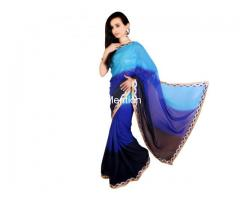 BLUE PADDING GEORGETTE SAREE WITH BLOUSE - Image 2/2