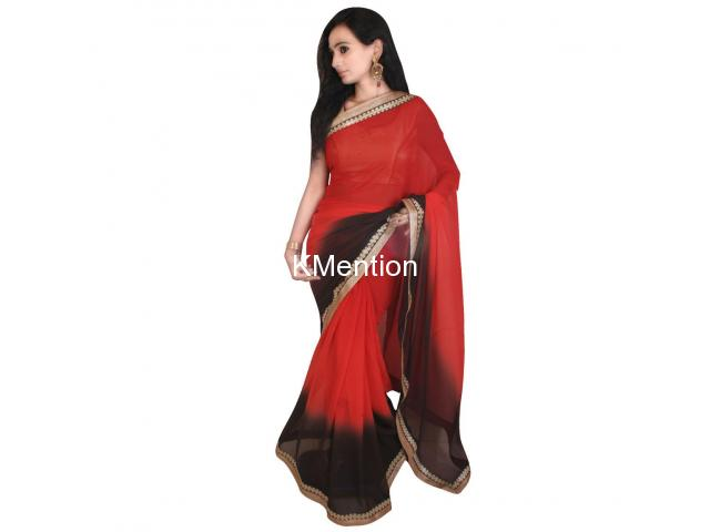 RED PADDING GEORGETTE SAREE WITH BLOUSE - 1/2