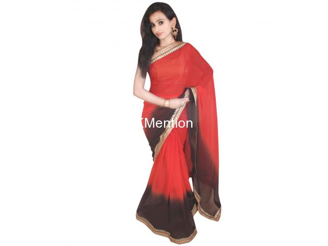 RED PADDING GEORGETTE SAREE WITH BLOUSE - 2/2
