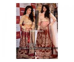 Cycle Maroon Embroidery tapeta silk Lehenga