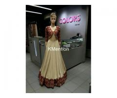 Cream and multi koti full stitched Gown