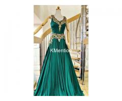 Green Moti & Embroidered Full stitched Gown