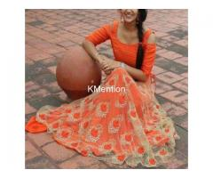 Orange matka Emb Lehenga choli