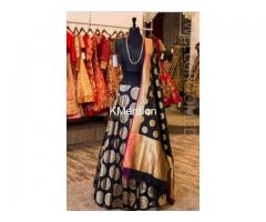 Black jequird silk lehenga