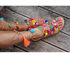 Ladies Designer Gladiator Pompom Leather Sandals Manufacturer