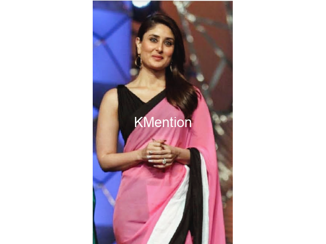 Karina Kapoor pink and black sadee - 1/2