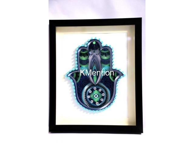 Home Decoration Handmade Paper art Hamsa hand frame Aadhi Creation - 2/8