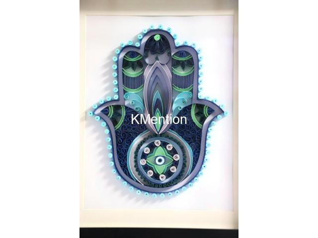 Home Decoration Handmade Paper art Hamsa hand frame Aadhi Creation - 3/8
