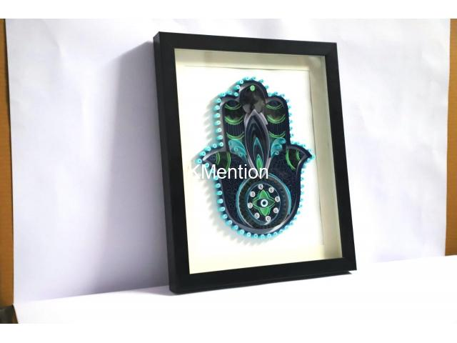 Home Decoration Handmade Paper art Hamsa hand frame Aadhi Creation - 4/8