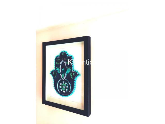 Home Decoration Handmade Paper art Hamsa hand frame Aadhi Creation - 7/8