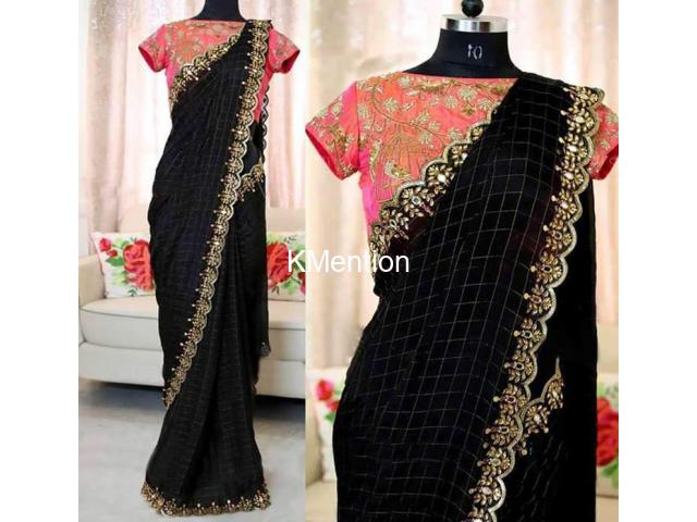 Balck Chanderi Cotton fancy Saree With Blouse With SONAL FASHION WORLD - 1/2