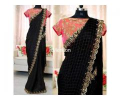 Balck Chanderi Cotton fancy Saree With Blouse With SONAL FASHION WORLD - Image 1/2