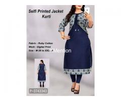 COTTON PRINTED KURTA WITH JECKET.  DEV FASHION WORLD.